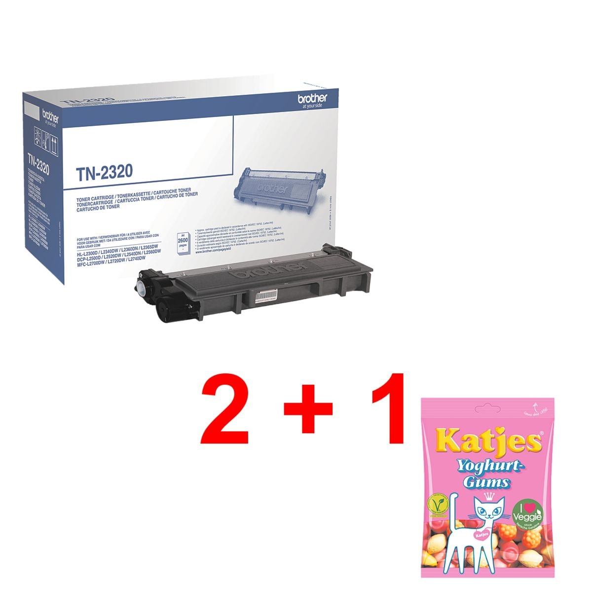 Brother Toner »TN-2320« incl. vruchtengums »Yoghurt-Gums«