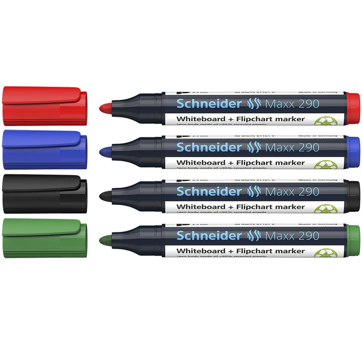 Schneider Etui met 4 whiteboard & flipchartmarkers  »Maxx 290«