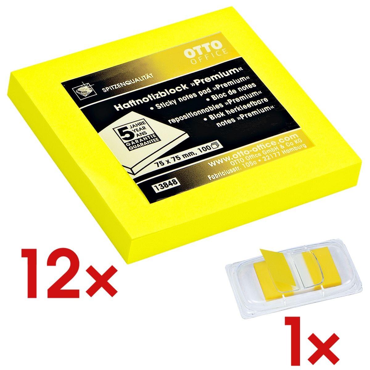12x OTTO Office Premium blok herkleefbare notes  Premium 7,5 x 7,5 cm, 1200 bladen (totaal), geel incl. Indexstroken 43 x 25 mm