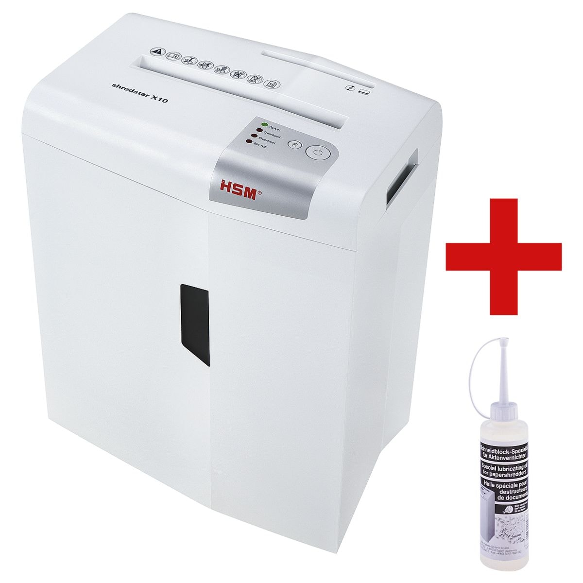 papiervernietiger HSM shredstar X10, Veiligheidsklasse 4, snippers (4,5 x 30 mm) tot 10 bladen incl. Speciale olie voor papiervernietigers
