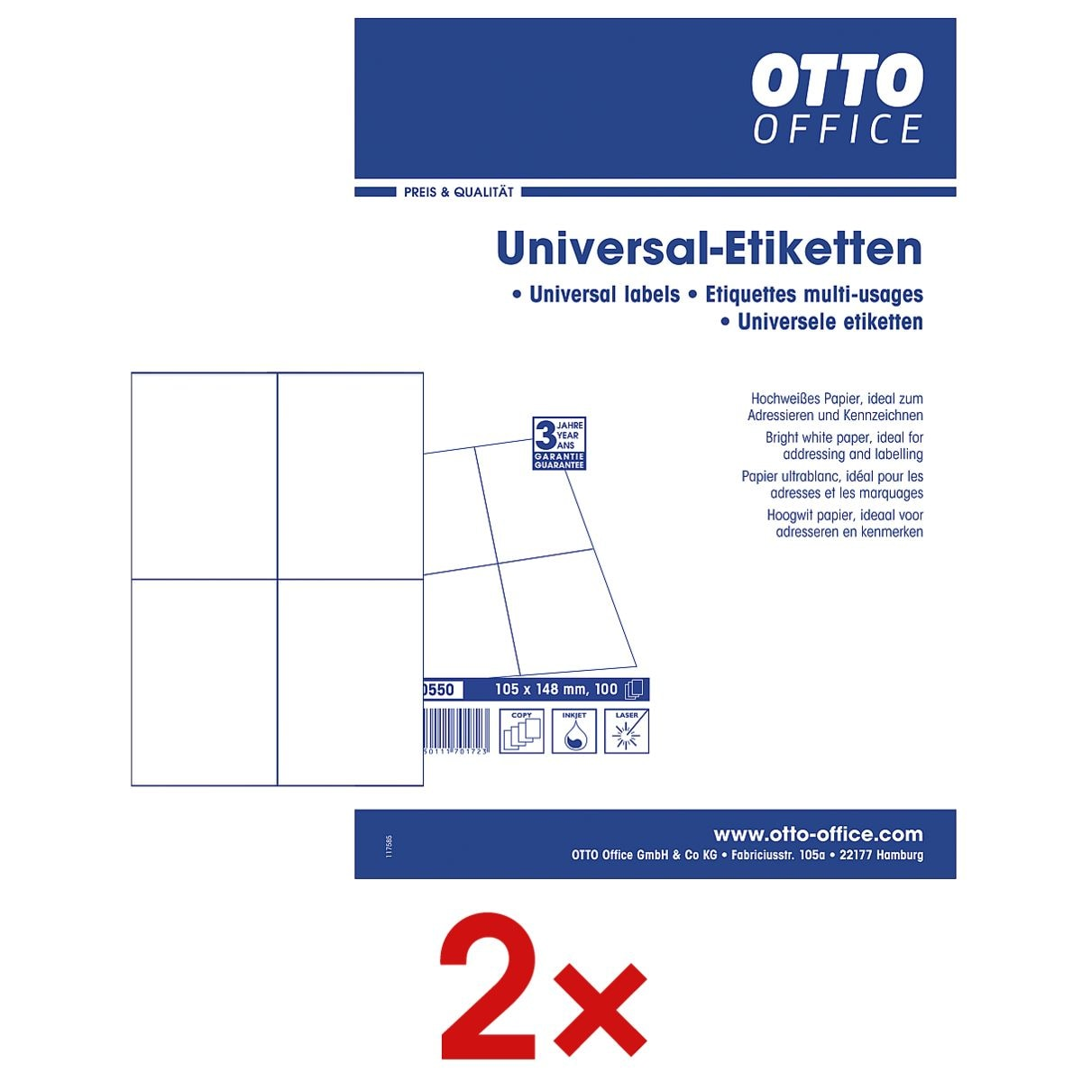 OTTO Office 2x pak van 400 universele etiketten