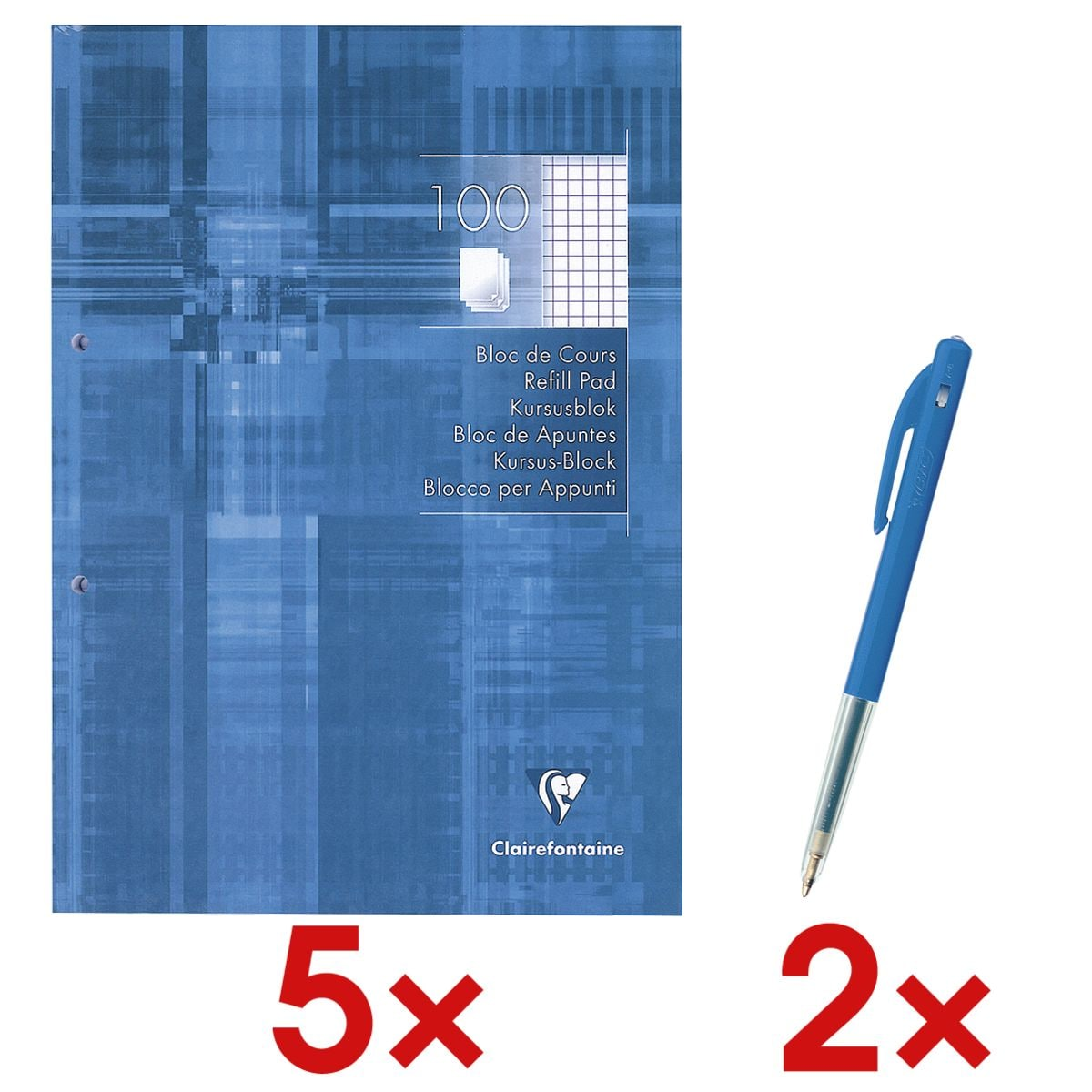 5x Clairefontaine collegeblok A4 geruit, 100 bladen incl. 2x Balpen met druksysteem »M10«