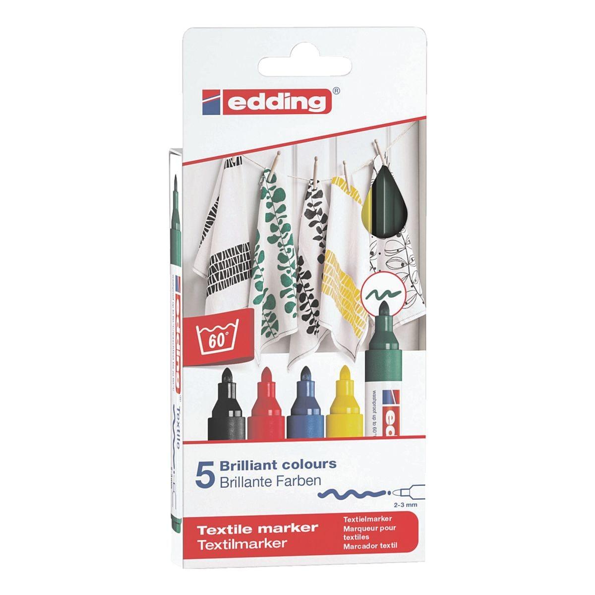 edding Pak met 5 textielmarkers »4500/5 S Basic Colours«