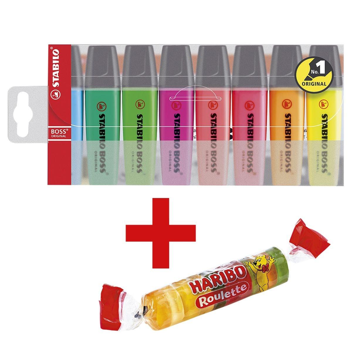 STABILO Markeerstift BOSS® Original, navulbaar, schuine punt, incl. Vruchtengums »Roulette« 25 g