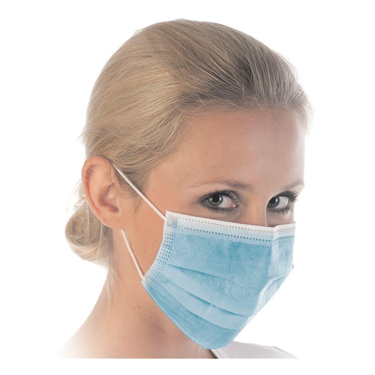 Franz Mensch 50 stuks mond-neusbescherming mondkapje »HYGOSTAR«, 3-laags, blauw