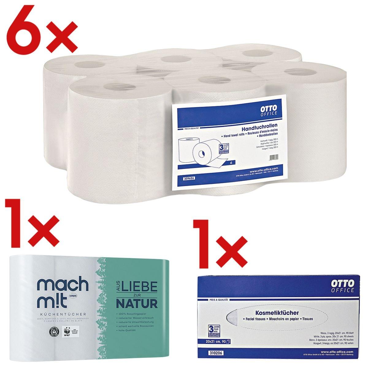 6x rolhanddoekjes OTTO Office, 1-laags, wit, 19 cm x 300 m van gerecycleerd papier, afrollen van binnenuit/buitenaf incl. Keukenrollen 3-laags, 4 rollen+Doos met tissues, 90 stuks