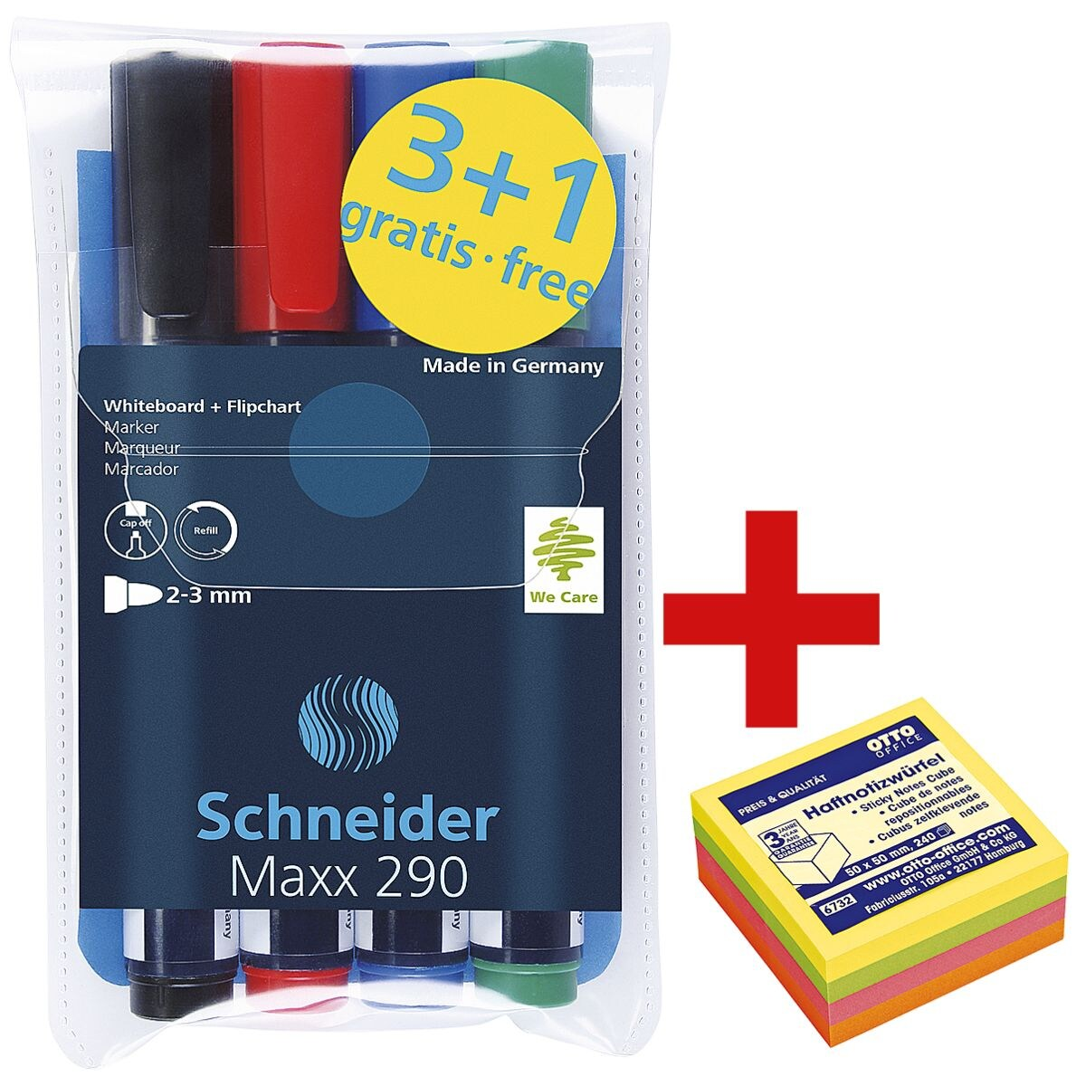 Schneider Etui met 4 whiteboard & flipchart markers »Maxx 290« incl. kubus zelfklevende notes 50x50 mm »Mini« 4 neon kleuren