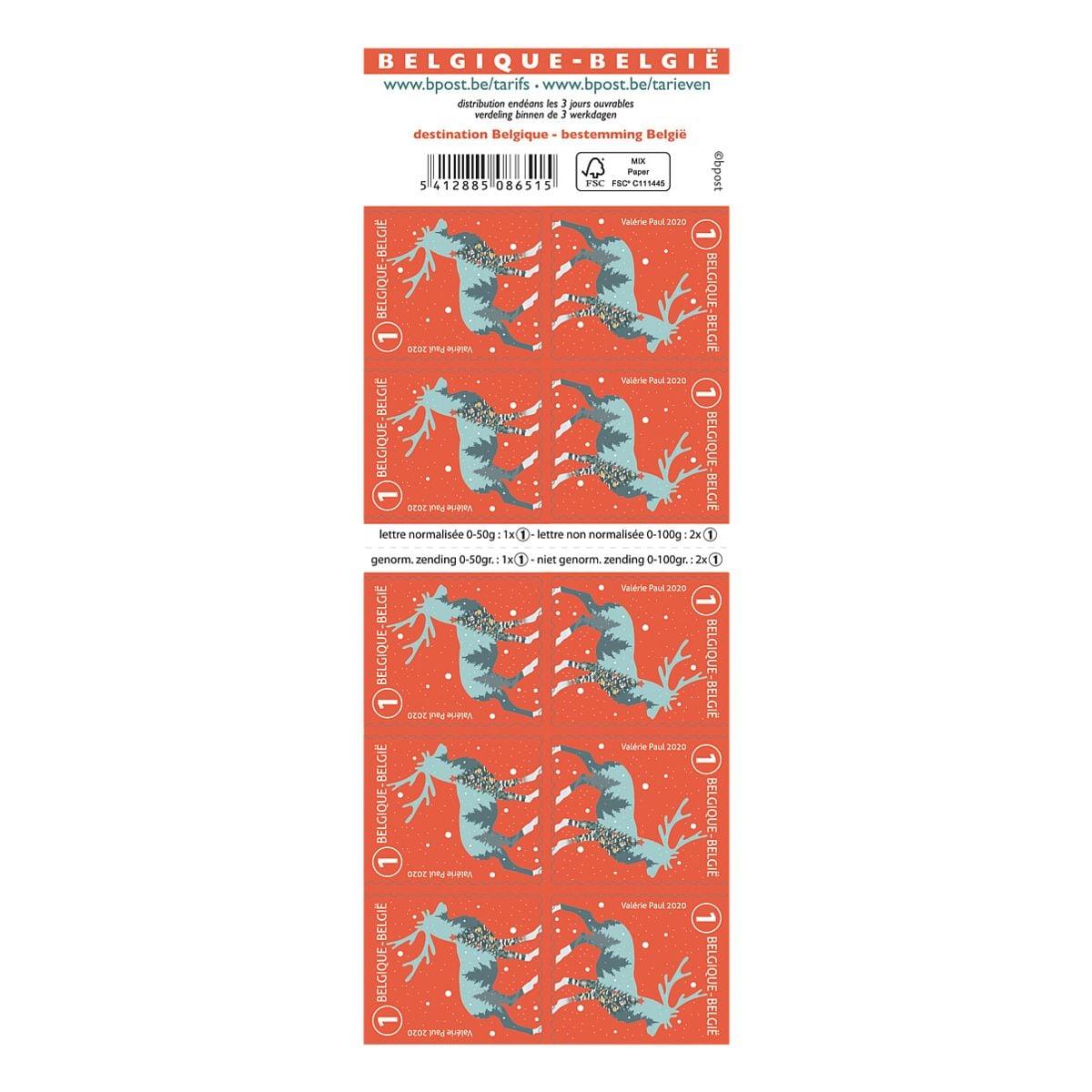 bpost Kerstpostzegels: rendier (2020), tarief 1: nationaal non prior