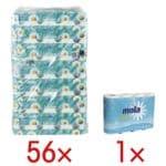 Regina Toiletpapier Kamille 3-laags, wit - 56 rollen (7 pakken à 8 rollen) incl. Keukenrollen 3-laags, 4 rollen
