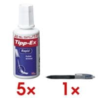 Tipp-Ex 5x correctievloeistof »Rapid« incl. 1x balpen »4 Colours Grip Pro«