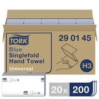 Papieren handdoekjes Tork 290145 1-laag, blauw, 22,5 cm x 23 cm met Z-vouw - 4000 bladen (totaal)