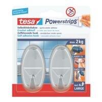 tesa Powerstrips »Haken large« ovaal chroomkleur 58050