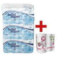 wepa Toiletpapier 3-laags, extra wit - 72 rollen (9 pakken à 8 rollen) incl. 6 keukenrollen 3-laags in »Big Pack« XXL