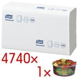 Papieren handdoekjes Tork 150299 2-laags, wit, 21 cm x 23 cm van papier met I-vouw - 4740 bladen (totaal) incl. Fruitgoms »Phantasia«