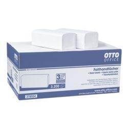 Papieren handdoekjes OTTO Office standaard 2-laags, natuurwit, 25 cm x 23 cm van tissue met Z-vouw - 3200 bladen (totaal)