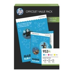 HP Value Pack: Inktpatronenset HP 953XL, cyaan, magenta, geel - 1CC21AE incl. 50 sheets All-In-One Paper & 25 sheets InkJet paper 180 g/m²
