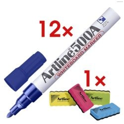 Artline 12x Whiteboardmarker »500A« incl. 1x Whiteboard-spons