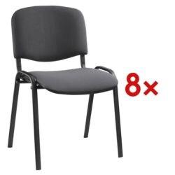 Nowy Styl Set met 8 stapelstoelen zwart onderstel