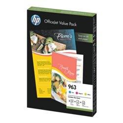 HP Value Pack: Inktpatronenset HP 963, cyaan, magenta, geel - 6JR42AE incl. 25 Blatt Inkjet Papier & 100 Blatt ColorChoice Papier