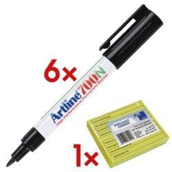 6x Artline Permanent-Marker 700 incl. Blok herkleefbare notes »Koelkast-Notes« met opdruk in Nederlands