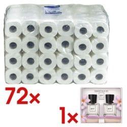 OTTO Office Toiletpapier 3-laags, wit - 72 rollen (9 pakken à 8 rollen) incl. Cadeauset kamergeur »ipuro flower bowl«