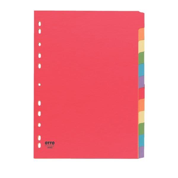 OTTO Office tabbladen, A4, blanco 12-delig, meerkleurig, gerecycleerd karton