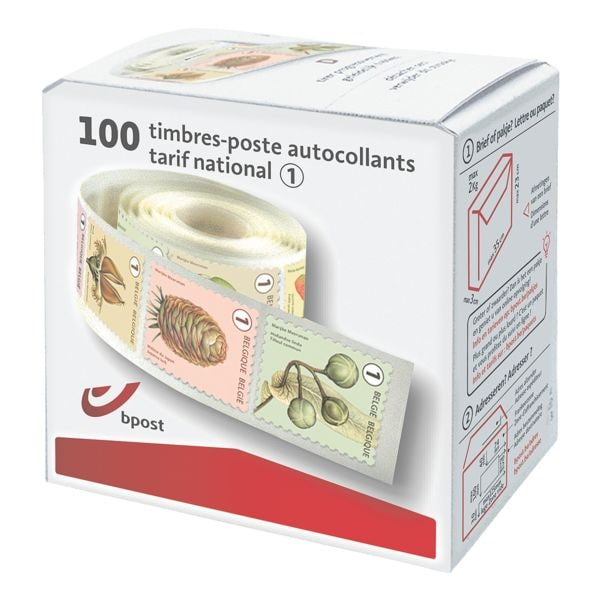 bpost Box met 100 postzegels, tarief 1: nationaal non prior (fruit mix)