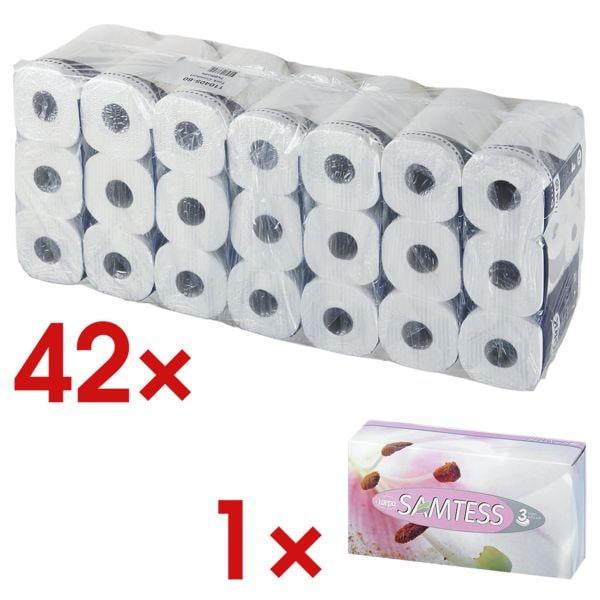 Tork Toiletpapier Premium 4-laags, extra wit - 42 rollen (7 pakken à 6 rollen) incl. Tissues 90 stuks