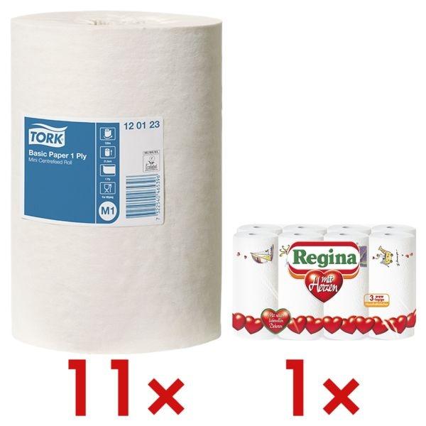 11 rollen witte papieren handdoekjes 1-laags (wit, niet geperforeerd, 21,5 cm x 120 m) incl. keukenrollen