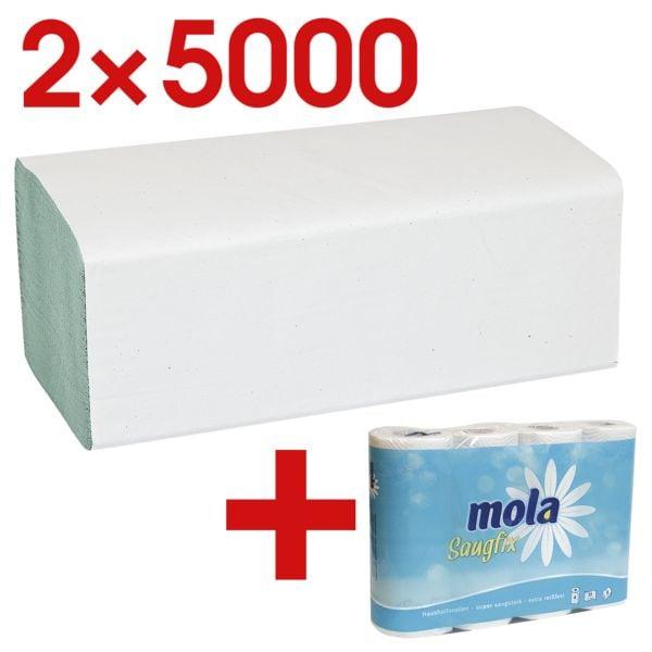 2x Papieren handdoekjes OTTO Office Budget Budget 1-laag, groen, 25 cm x 23 cm van gerecycleerd papier met Z-vouw - 20000 bladen (totaal) incl. Keukenrollen 3-laags, 4 rollen