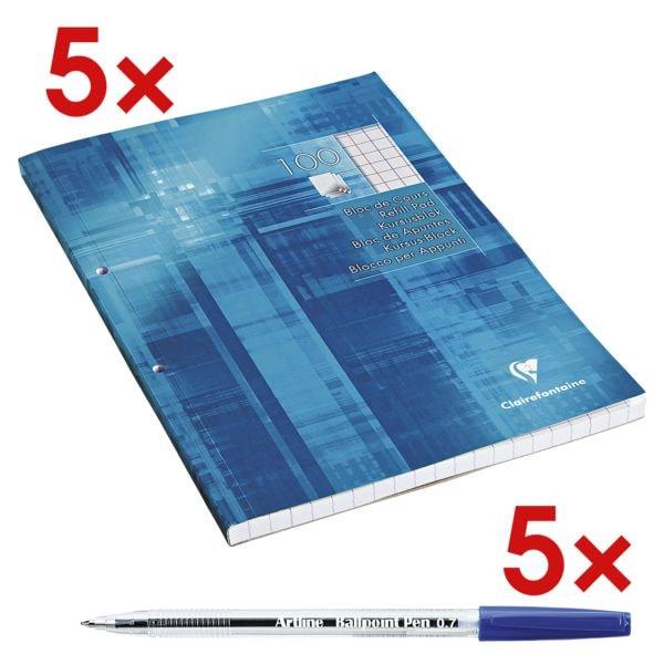 5x Clairefontaine cursusblok A4 geruit ( geen opgave), met binnenrand incl. 5x Wegwerp balpen »EK-8270«