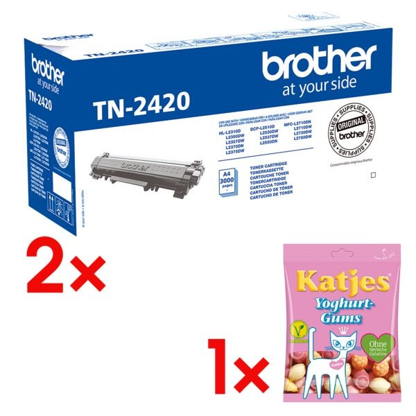 Brother 2x Toner »TN-2420« incl. vruchtengoms »Yoghurt-Gums«