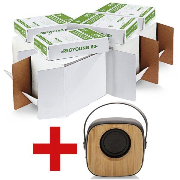 4x Gerecycleerd papier A4 OTTO Office Nature Gerecycleerd - 10000 bladen (totaal) incl. Bluetooth luidspreker »Bamboe«