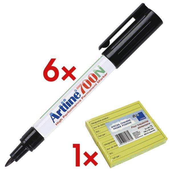 6x Artline Permanent-Marker 700 zwart - ronde punt, Lijndikte 0,7 mm (F) incl. Blok herkleefbare notes »Koelkast-Notes« met opdruk in Frans