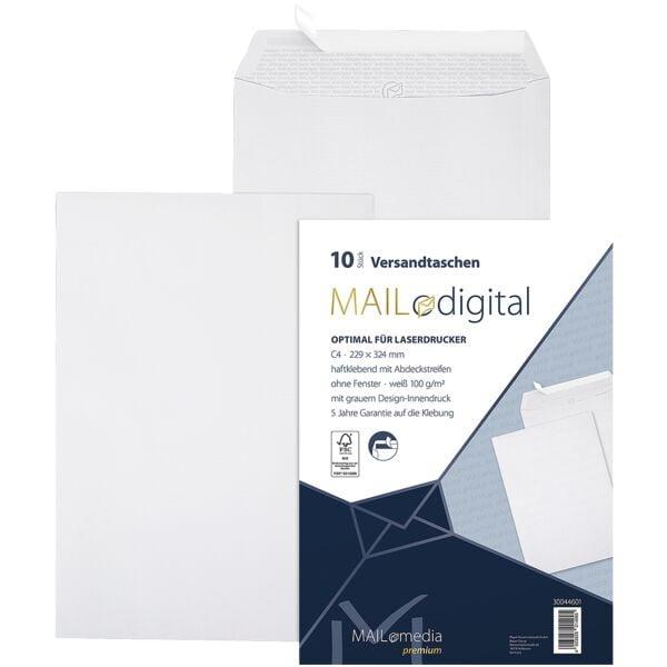 Mailmedia 10 Zak-enveloppen met laserprinter te bedrukken Topstar, C4 100 g/m² zonder venster