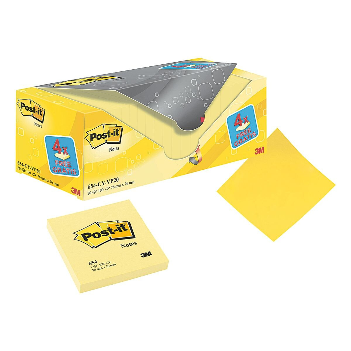 20x Post-it Notes bloc de notes repositionnables Notes 7,6 x 7,6 cm, 2000 feuilles au total, jaune