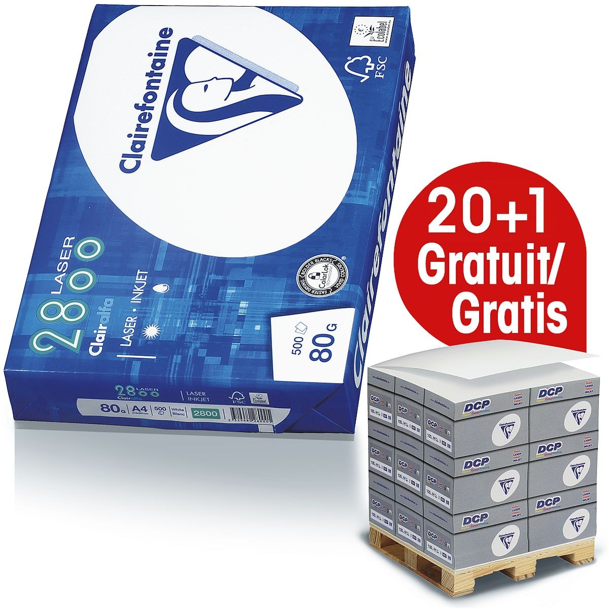 20x Papier imprimante multifonction A4 Clairefontaine 2800 - 10000 feuilles au total, 80 g/m² avec Distributeur bloc-notes