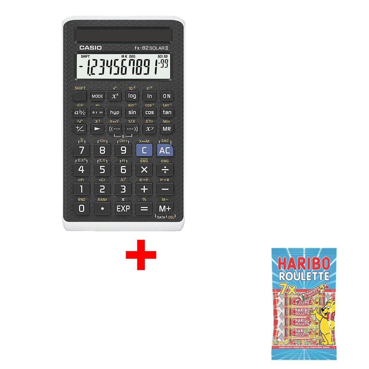 CASIO Calculatrice d'école « FX-82 Solar II » avec bonbons gélifiés « Roulette »