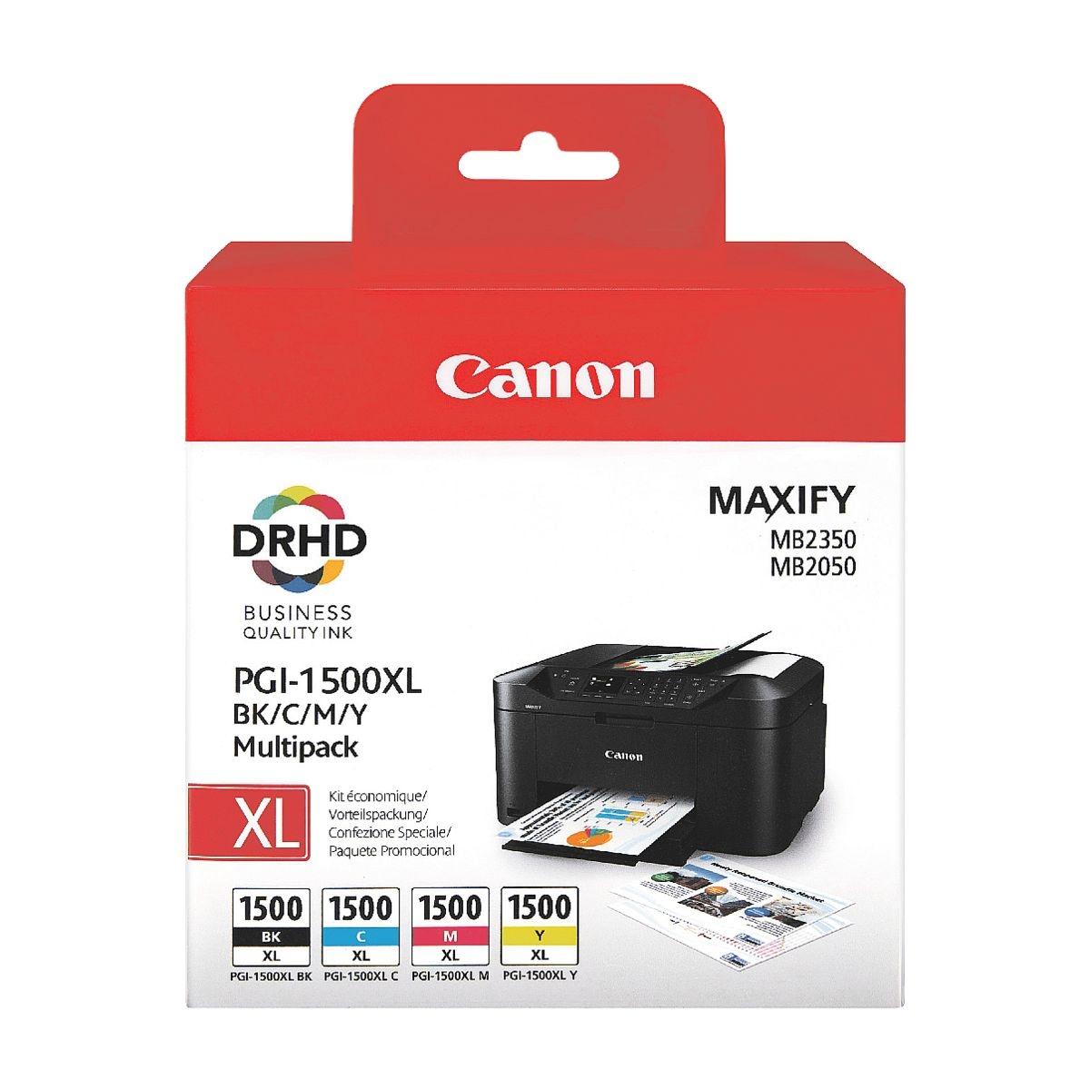 Canon Lot de cartouches « PGI-1500XL BK/C/M/Y »