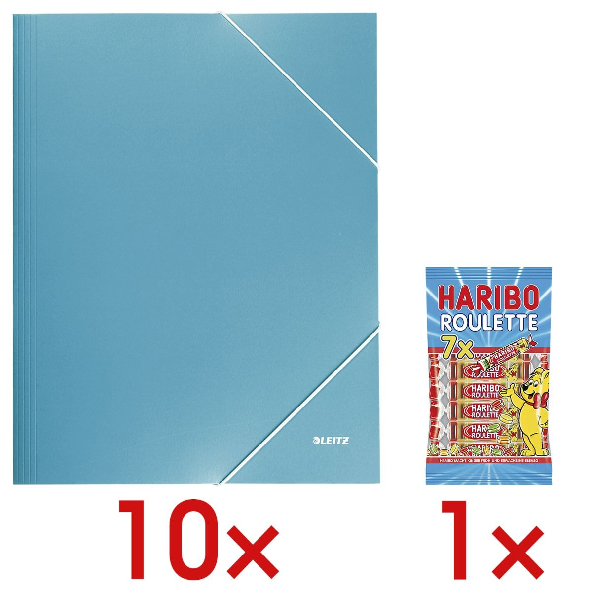 LEITZ 10x chemise à élastiques A4 « Wow 3982 » avec 1x bonbons gélifiés « Roulette »