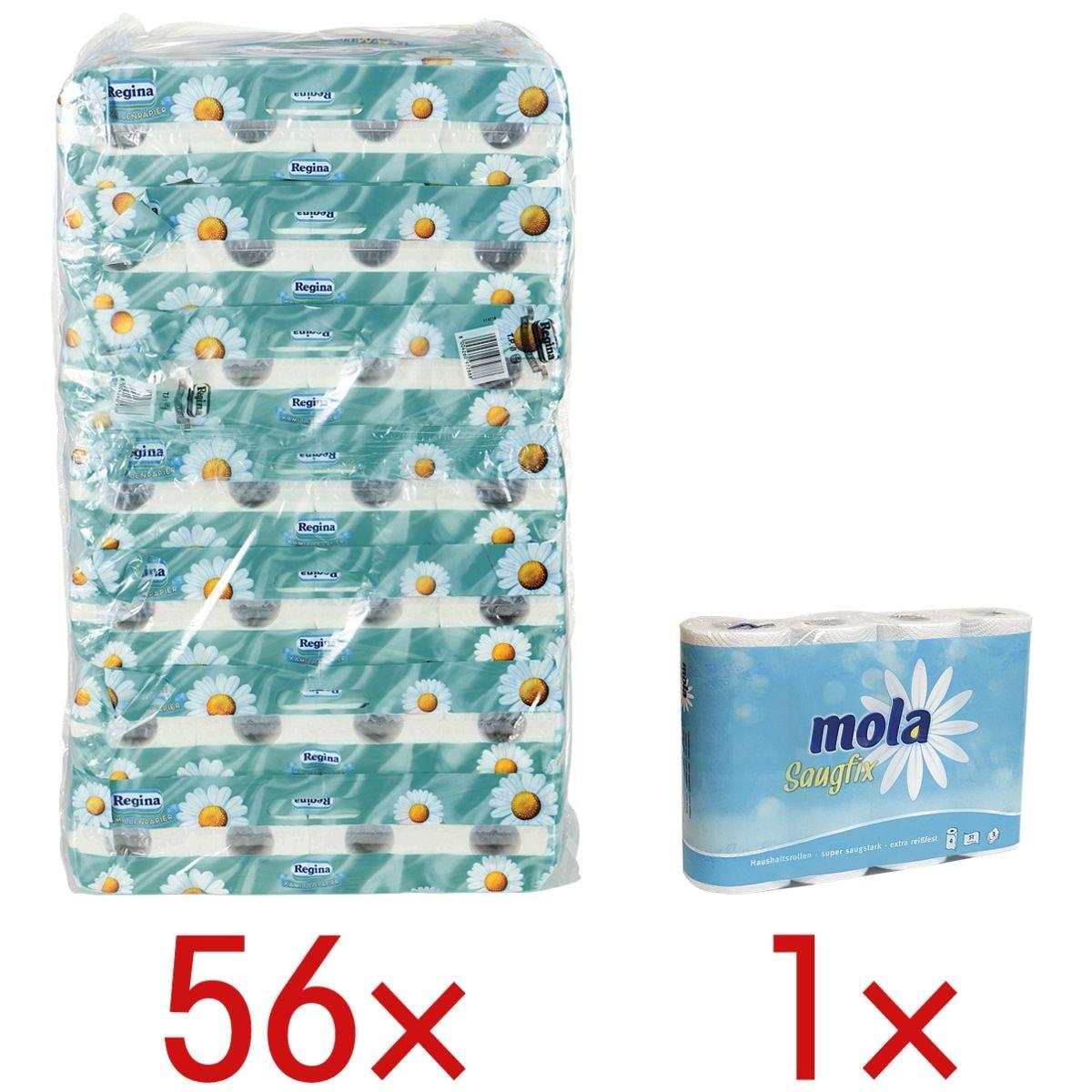 Regina papier toilette camomille 3 épaisseurs, blanc - 56 rouleaux (7 paquets de 8 rouleaux) avec Rouleaux d'essuie-tout triple épaisseur, 4 rouleaux