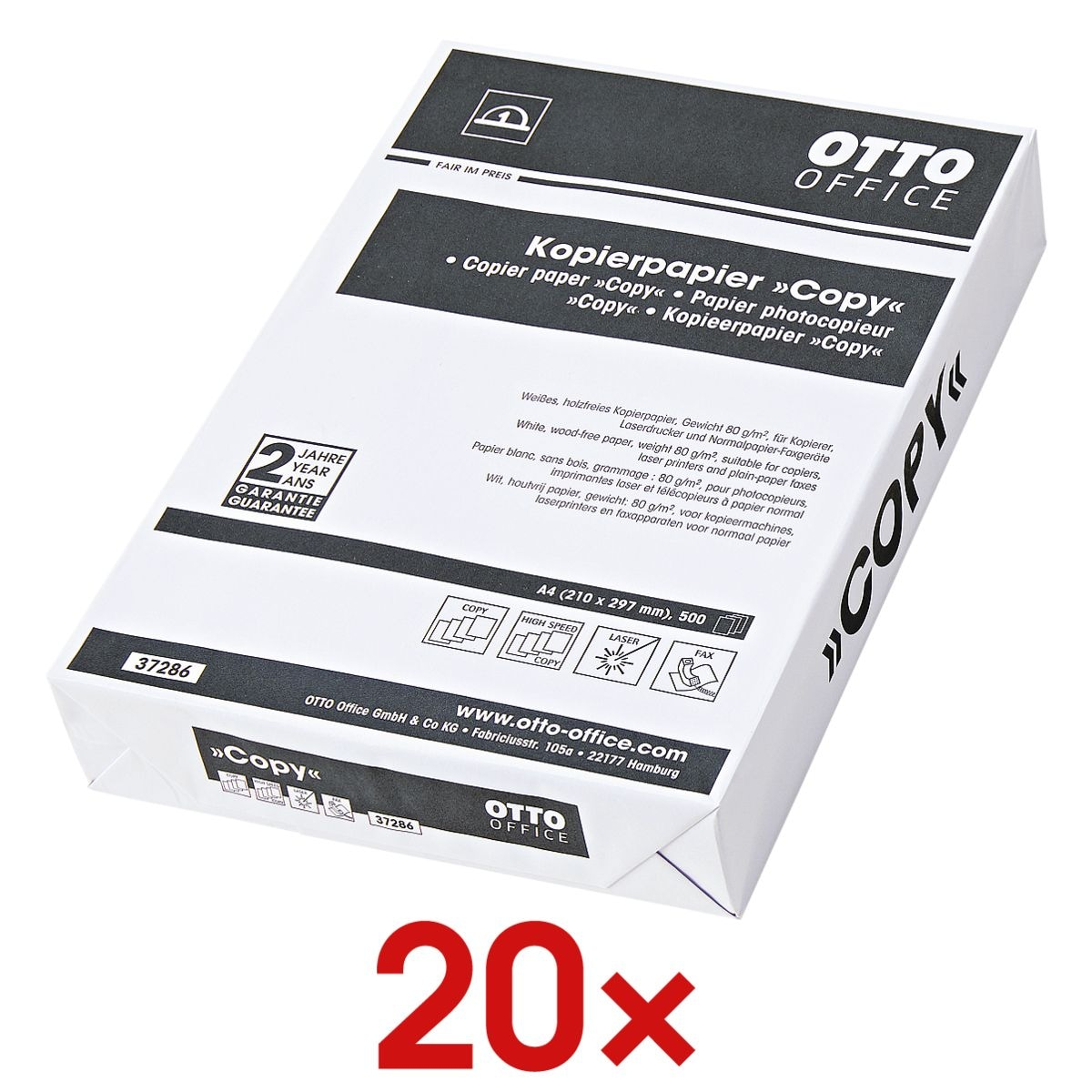 20x Papier photocopieur A4 OTTO Office Budget COPY - 10000 feuilles au total, 80 g/m²