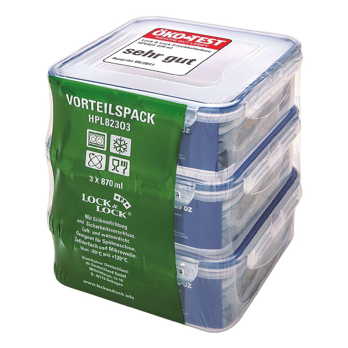 Lock & Lock Lot de 3 boîtes alimentaires « HPL82303 » (3x 870 ml)