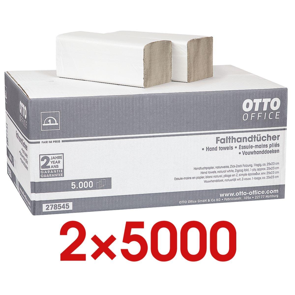2x Essuie-mains en papier OTTO Office Budget Budget simple épaisseur, blanc nature, 25 cm x 23 cm de Papier recyclé avec pliage en Z - 10000 feuilles au total