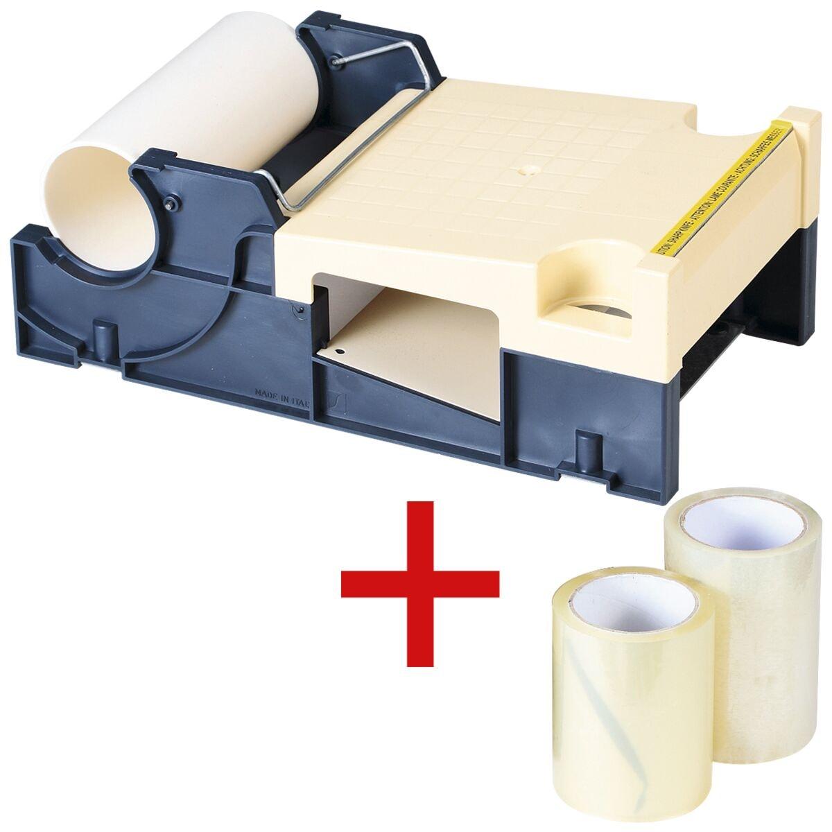 Dévidoir pour système de protection d'étiquettes avec 2 rouleaux de film de protection