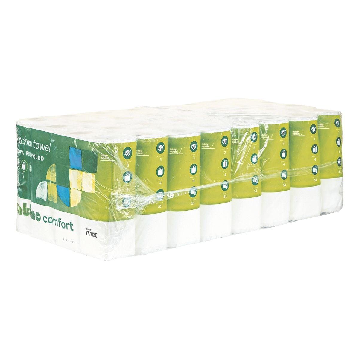 satino comfort Rouleaux d'essuie-tout triple épaisseur, 32 rouleaux (8 paquets de 4 rouleaux)