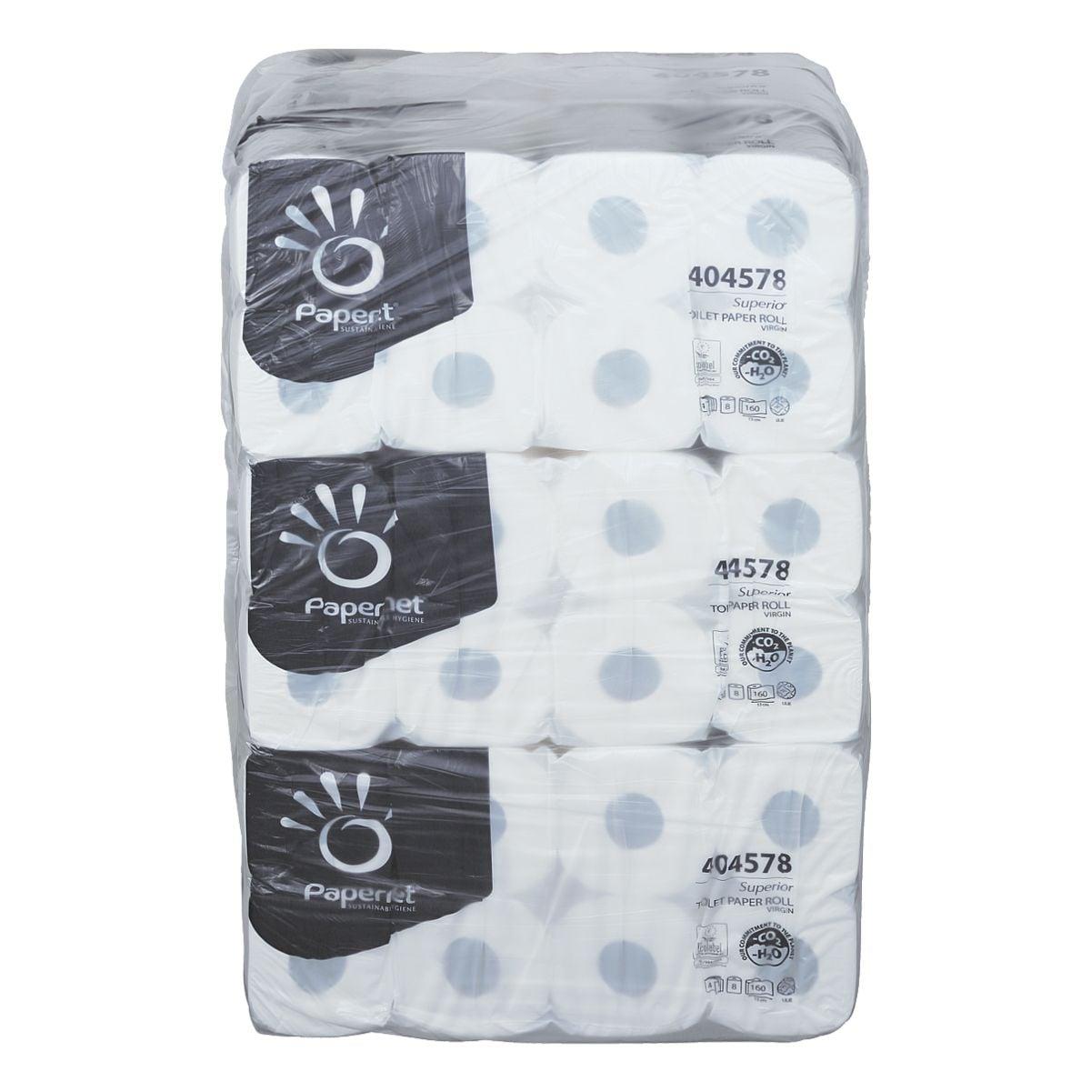 Papernet papier toilette 4 épaisseurs, blanc - 72 rouleaux (9 paquets de 8 rouleaux)