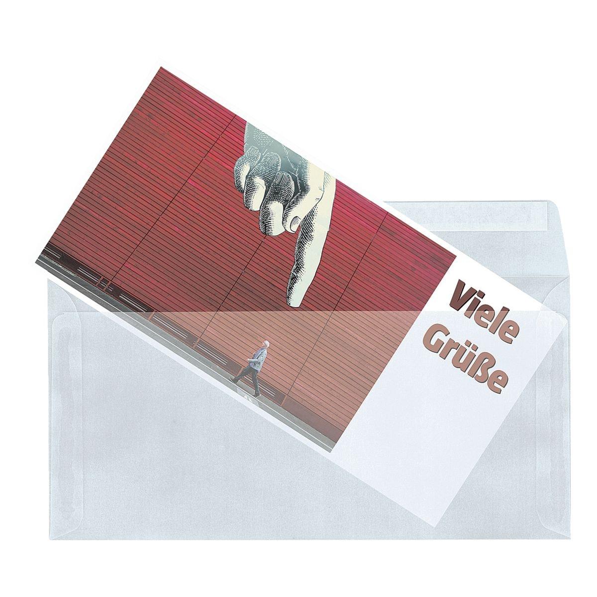 Mailmedia 25 enveloppes transparentes , DL+ 82 g/m² sans fenêtre