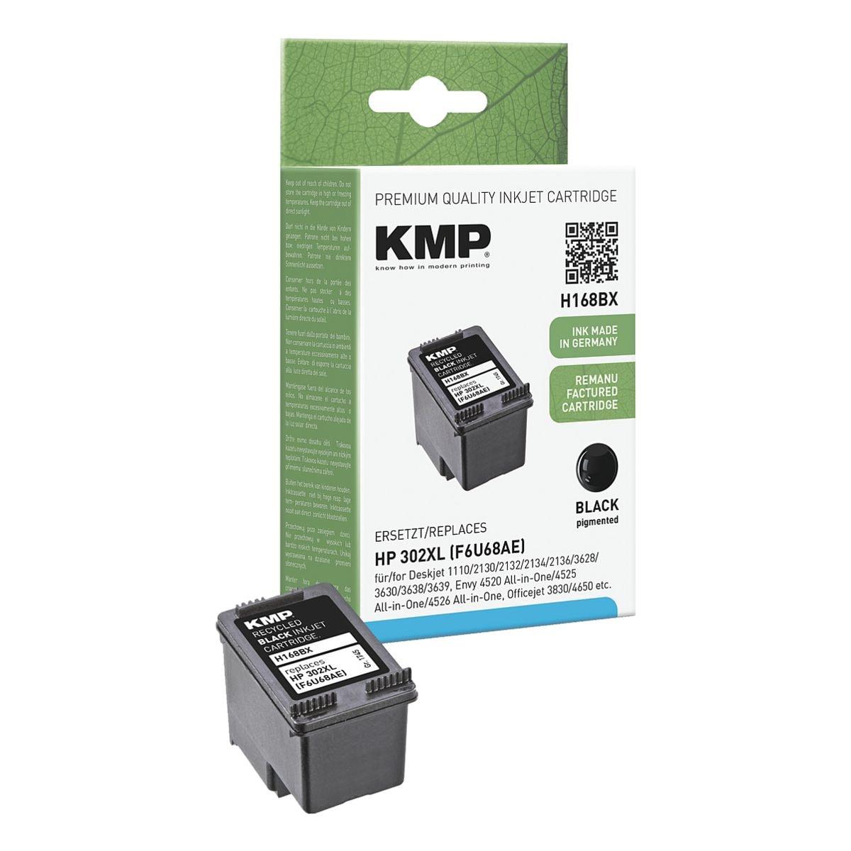 KMP Cartouche d'encre équivalente Hewlett Packards « F6U68AE » n° 302 XL noir