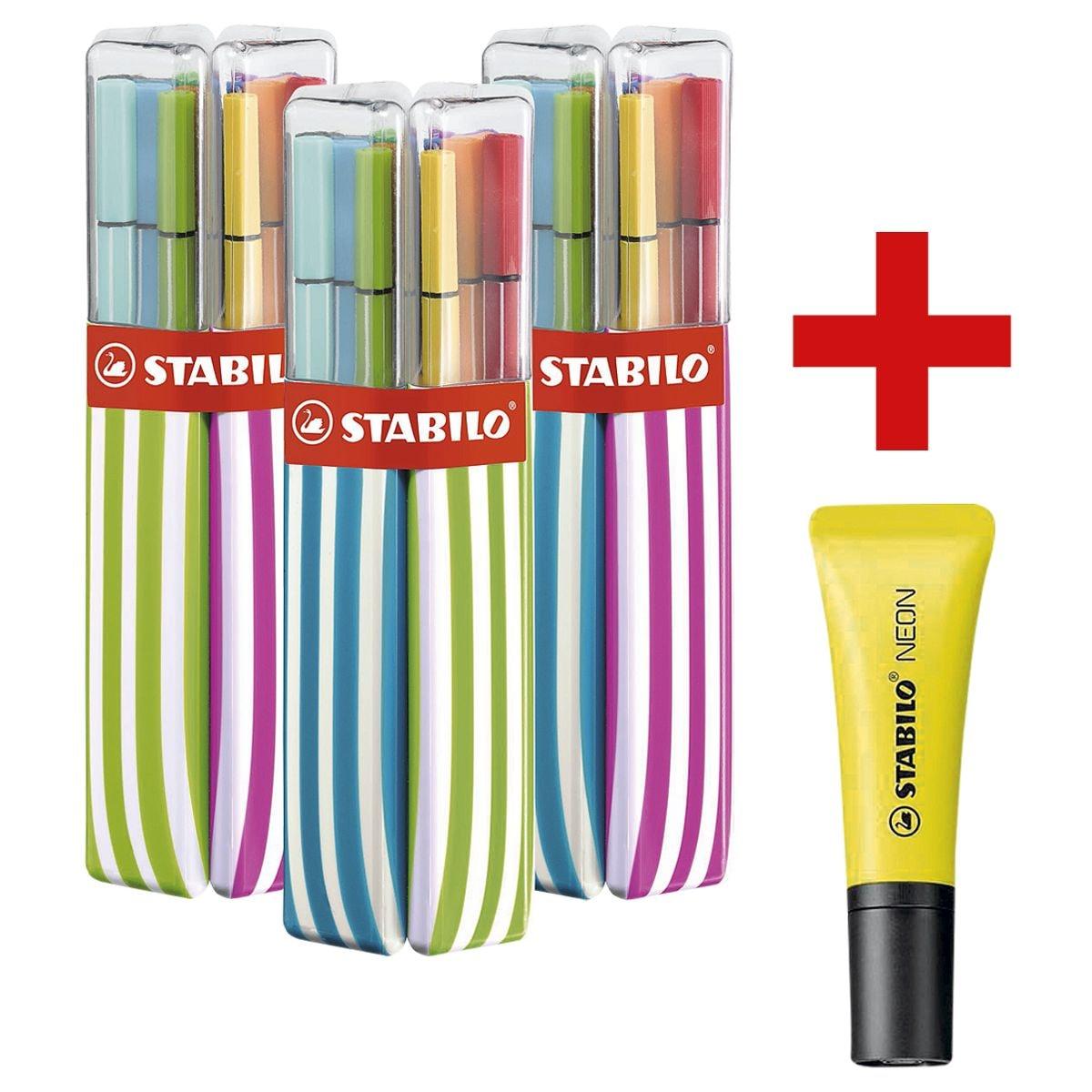 STABILO Paquet double de 20 feutres « Pen 68 » avec surligneur « NEON »